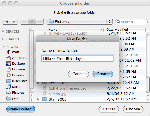 Choose a folder to export to