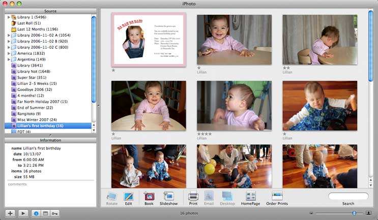 Selecting album to export in iPhoto