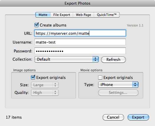 The Matte iPhoto Export dialog